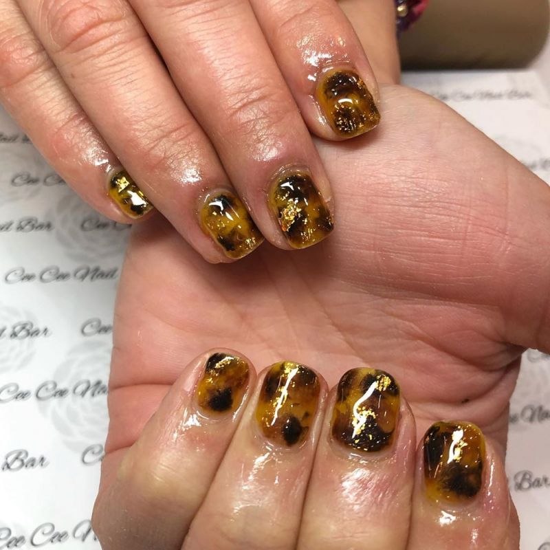 55 Trendy Tortoise Shell Nail Art Designs