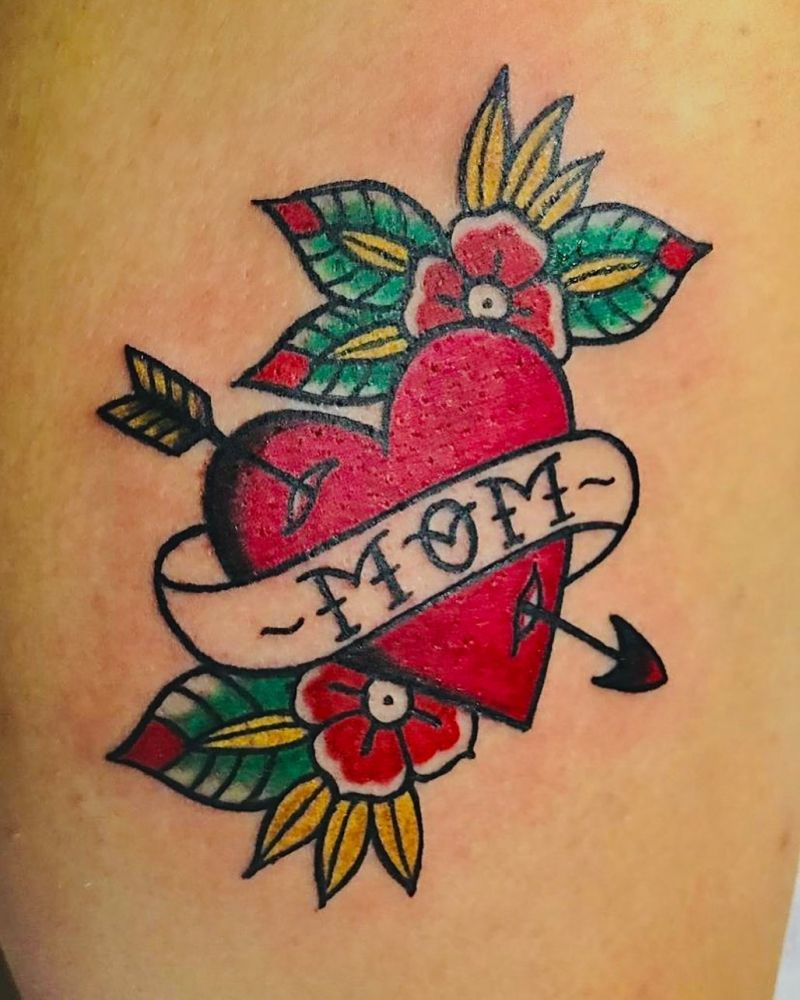 55 Pretty Mom Heart Tattoos Show Love for Mother
