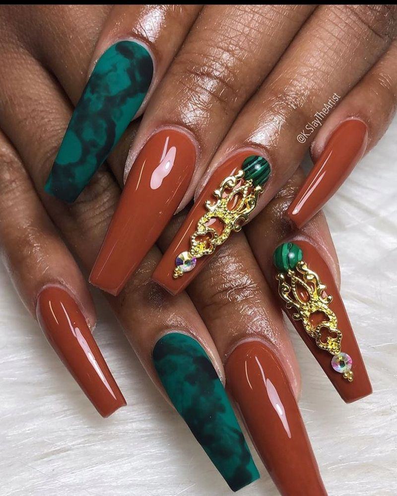 30 Trendy Brown Acrylic Nails You Can Copy
